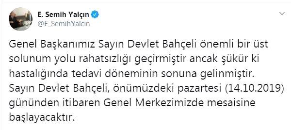 MHP'li Yalçın: Devlet Bahçeli, pazartesi günü mesaisine başlayacak